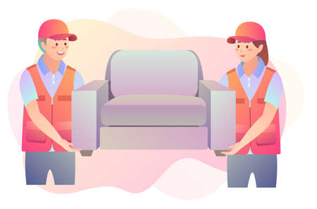 Illustration of movers carrying a sofa