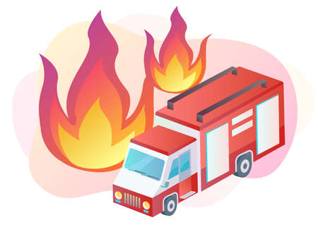 Illustration of a firefighter truck and flames