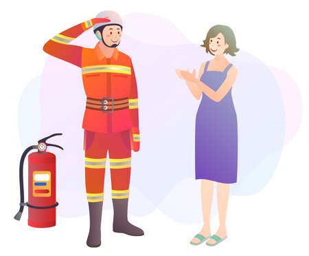 Illustration of a firefighter being complemented by a citizen