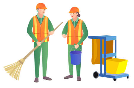 Illustration of workers with a cart and tools for cleaning