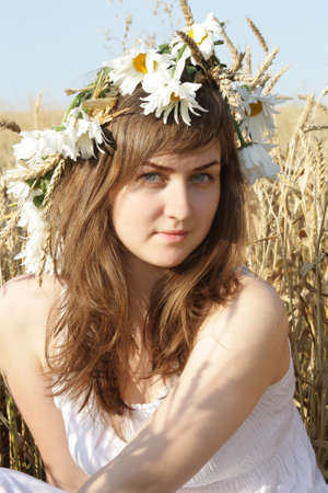 girl with wreath Stock Photo