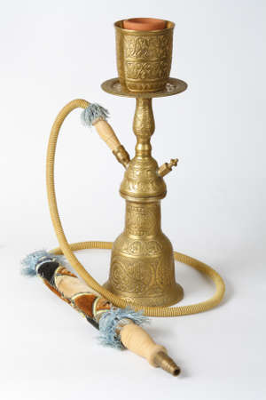 bronze hookah on a white background