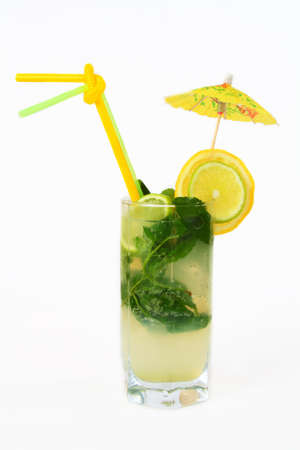 cocktail with mint and lemon on a white background Stock Photo