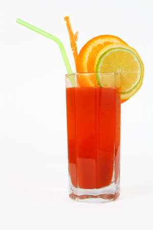 exotic cocktail with lemon and orange on a white background