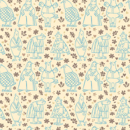Children and Youth pattern, bird girl, bird-boys, the birds in different clothing, different characters, floral background Illustration