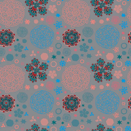 A variety of colors, patterns, warm and cool colors, gray background, pattern, variety of elements