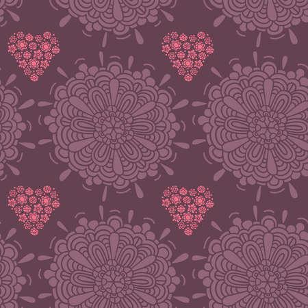Pattern, raster, illustration, large flower, heart, small flowers, many of the details Illustration
