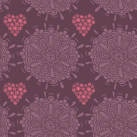 Pattern, raster, illustration, large flower, heart, small flowers, many of the details Illustration