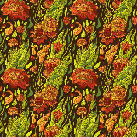 Illustration, pattern, floral background, luxuriant bloom, large and small flowers