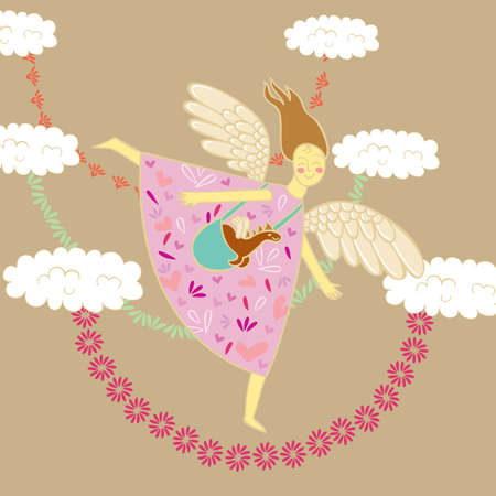 Angel flying through the sky Vector