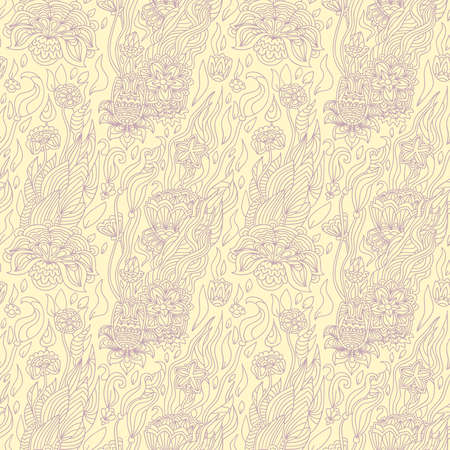 blossomed: Flowers in the background, seamless pattern Illustration