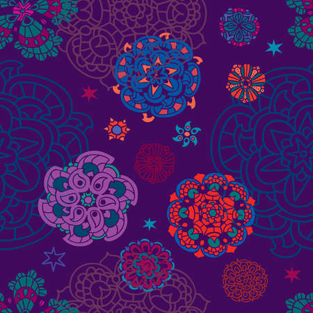 Floral pattern, contour and colorful flowers on the background