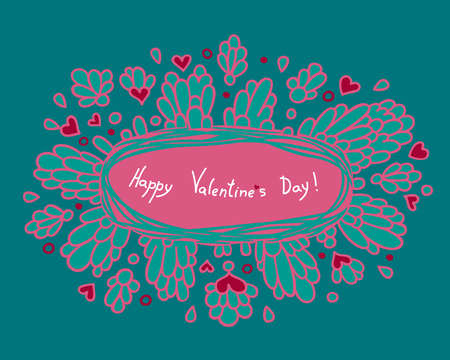 greeting card with decorative field for the text pattern of the petals and hearts in the background