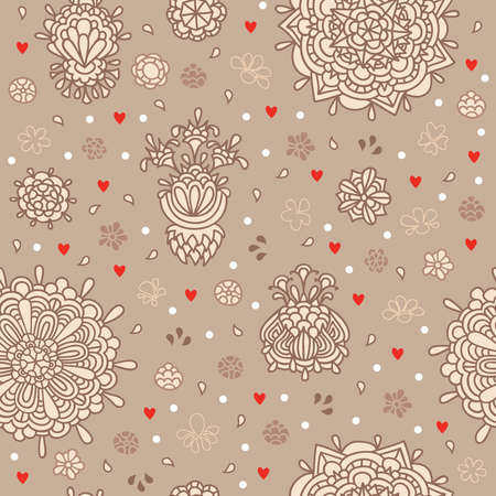 Large and small flowers and hearts on the background
