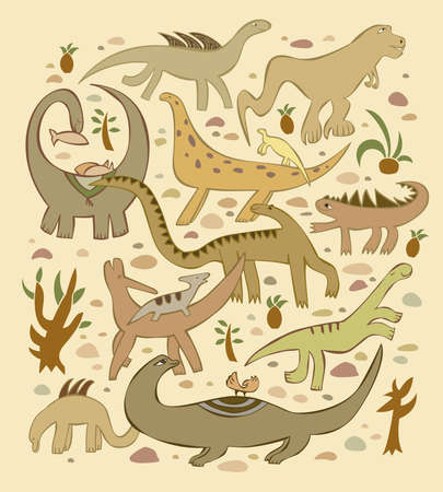 the group of various dinosaurs in the background of sand and stones and plants