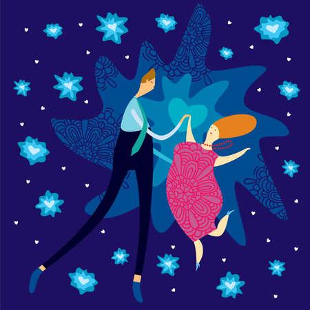 baile caricatura: Pareja en el amor bailando en el cielo nocturno con las estrellas brillantes en forma de corazones. Ilustración humorística.