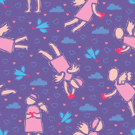 Pattern with the angels and birds, holding the heart in the sky with clouds and hearts Vector