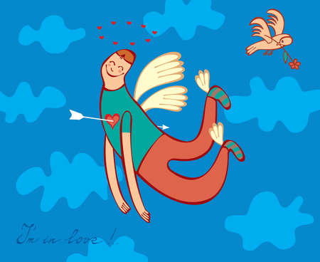 Man in love is flying on the wings of happiness in the sky with clouds and a surprised bird. Heart pierced by an arrow Cupid men.