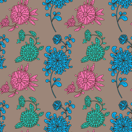 Seamless pattern with flowers and buds in the background. Illustration
