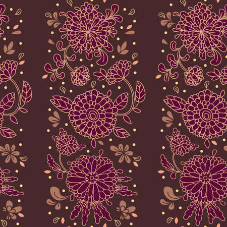 The decorative ornament of flowers, buds and leaves on a dark background.