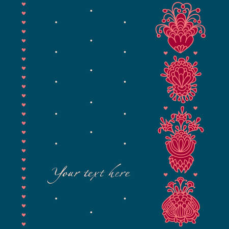 Greeting card, decorative flowers and hearts on a background with dots
