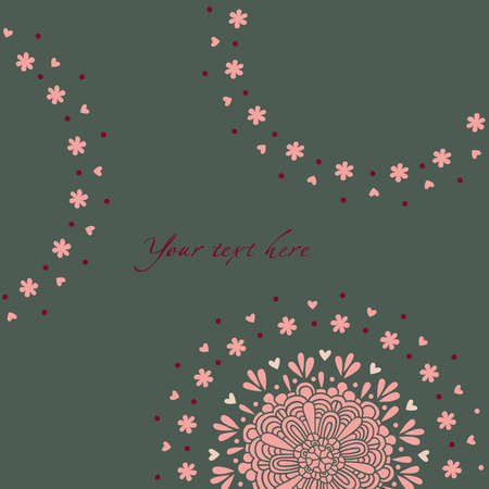 Greeting card, decorative flowers and hearts on a background with dots Stock Vector - 12269188