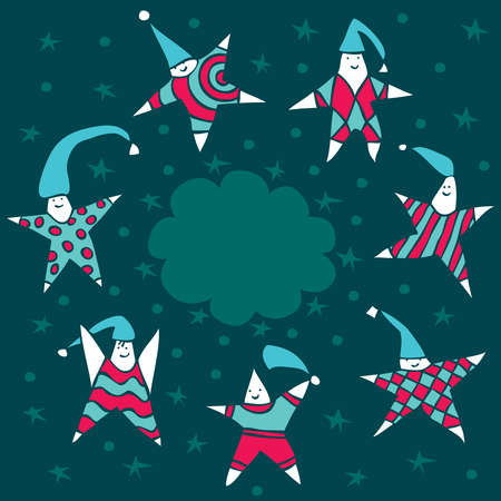 Dancing star lead children dance around the clouds in the night sky. Stock Vector - 12269187