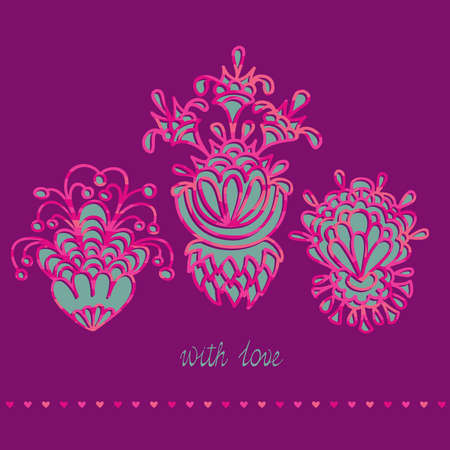 Greeting card with three flowers on a background with hearts