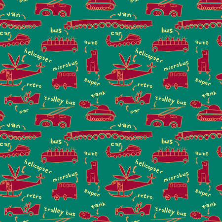 Seamless pattern with different modes of transport in a childrens style.