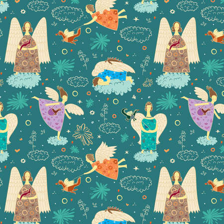 Angels walk with the dragons in the sky  Seamless pattern Illustration
