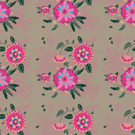 Seamless pattern with flowers, buds and leaves in the background  Illustration