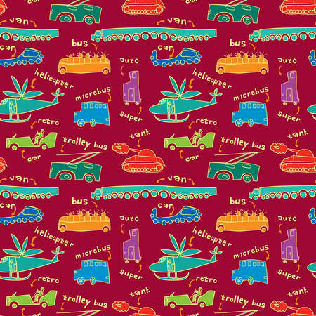 boyish: Seamless pattern with different modes of transport in a children s style