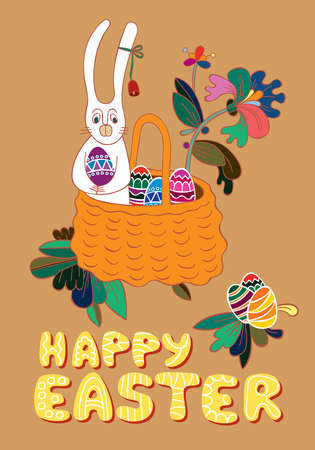Easter greeting card  Still life with a basket full of Easter eggs, rabbit and flower
