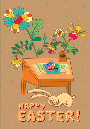 Greeting card with an illustration on the theme of Easter  Stock Vector - 12872846