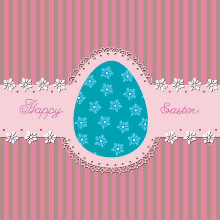 Openwork belt with Easter eggs in the background  Postcard
