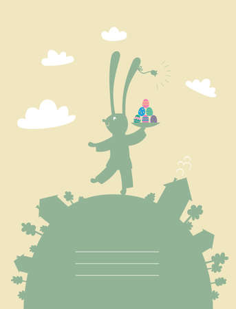 Rabbit Easter eggs with a dish marching up the hill with houses and trees against the sky and clouds Stock Vector - 12872835