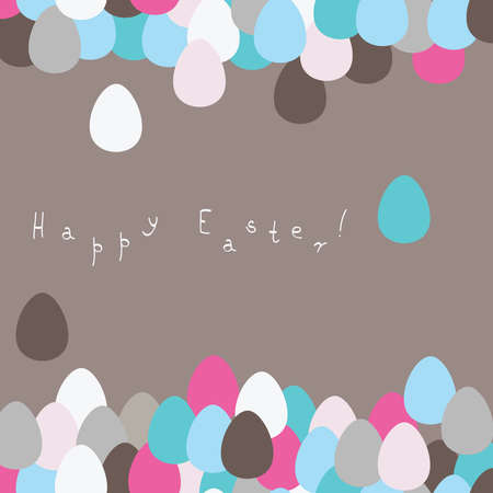 Easter greeting card with colored eggs in the background.