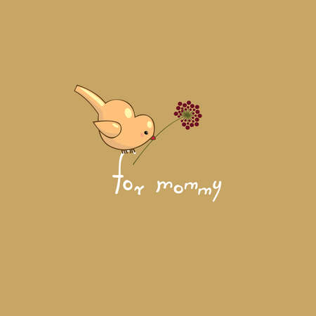 mother cartoon: A little bird holding in its beak a flower  Greeting Card Mother s Day
