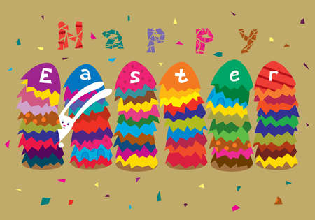Greeting Easter card with stacks of colored eggs and rabbit  Stock Vector - 12872853