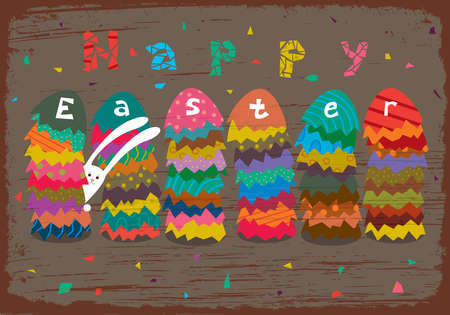 Greeting Easter card with stacks of colored eggs and rabbit. Stock Vector - 12805123