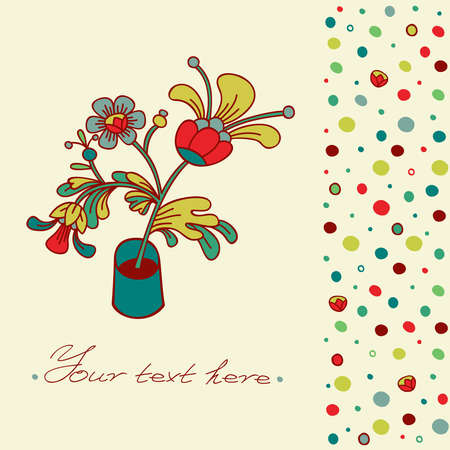 Greeting card with room flower in a pot on a background with colored circles
