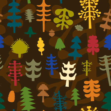 Seamless pattern with various tress of the forest.