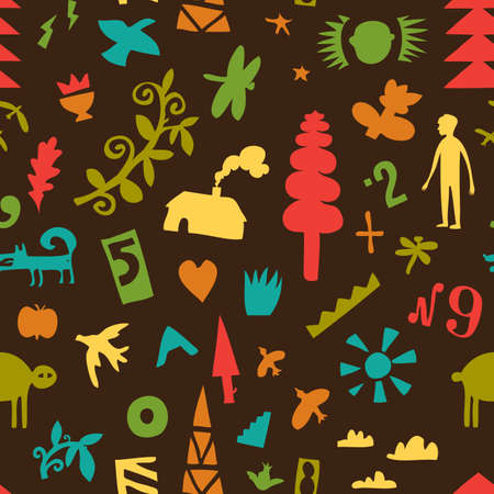 Seamless pattern with warious elements of a summer vacation.