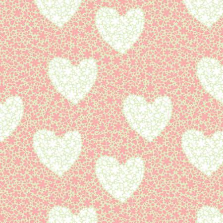 seamless pattern with big hearts and small flowers