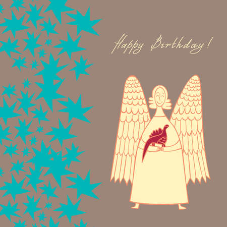 greeting card with an angel holding a dinosaur on a background of stars