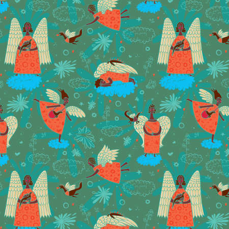 Seamless pattern with black angels on clouds background