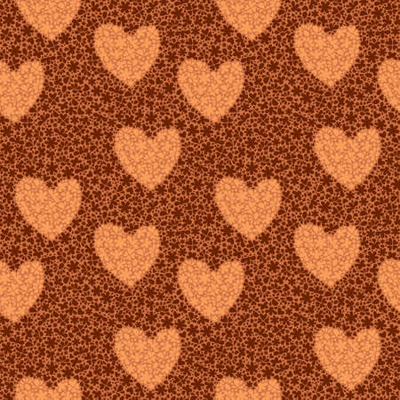 Seamless pattern with hearts on a background of flowers