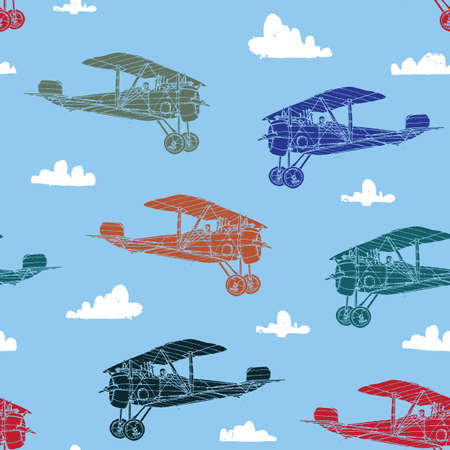 Seamless pattern with retro airplanes against the sky and clouds