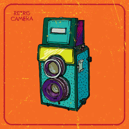 'catch the moment': Vector illustration of an old film camera with two lenses