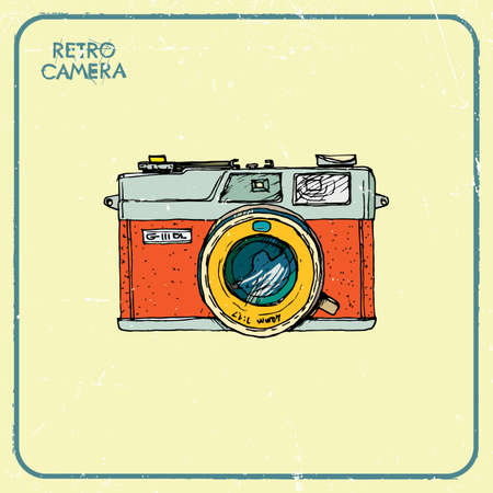 'catch the moment':  illustration of an retro camera